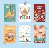 samling av thailand-symboler i sex kort vektor