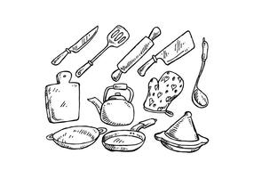 Gratis matlagningsverktyg Handdragen vektor