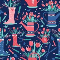 dekorativt sömlöst mönster med trädgårdsredskap vektor