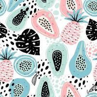sömlösa mönster med frukter vektor