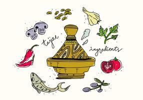 Traditionelle Tajine Lebensmittel Zutaten Hand gezeichnet Vektor-Illustration