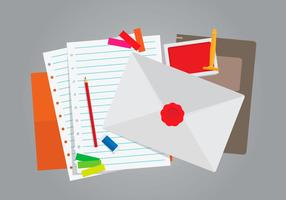 Stationery with Red Cachet Stamp Illustration