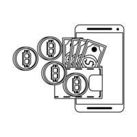 Bitcoin-Kryptowährung Online-Zahlungssymbole in Schwarzweiß