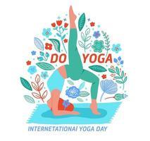 kvinna som tränar yoga