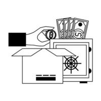 bitcoin-kryptovaluta online betalningssymboler i svart och vitt
