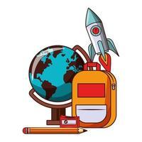 Cartoon zurück zur Schule und Bildung Zusammensetzung vektor