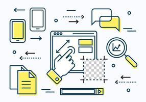 Freie lineare digitale Datenvektorelemente