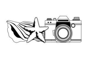 sommarstrand och semestertecknad film i svartvitt