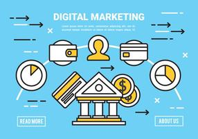 Free Flat Digital Marketing Konzept Vektor