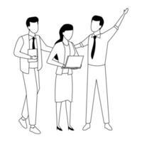 Mitarbeiter mit Büromaterial in schwarz und weiß