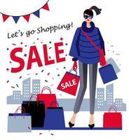 Mädchen mit Einkaufstasche, Verkaufshintergrund vektor