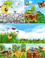 uppsättning olika insekter som bor i trädgårdsbakgrunden