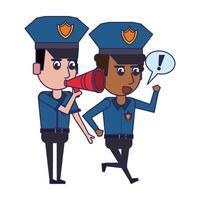 Polizisten laufen Zeichentrickfigur