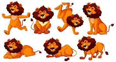 Satz Löwen-Zeichentrickfigur vektor