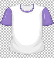 leeres weißes T-Shirt mit lila kurzen Ärmeln auf transparentem