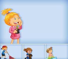 Satz verschiedene Kindercharaktere auf blauem Hintergrund