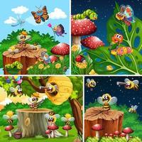 uppsättning olika insekter som bor i trädgårdsbakgrunden vektor