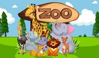 grupp djur med zoo tecken