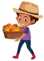 Kinderjunge mit Obst oder Gemüse auf weißem Hintergrund vektor