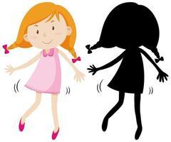 glückliches Mädchen, das niedliches Kleid mit seiner Silhouette trägt