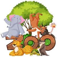grupp av djur under trädet med zoo tecken