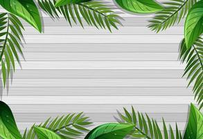 Draufsicht des leeren Holztischs mit Blattelementen vektor
