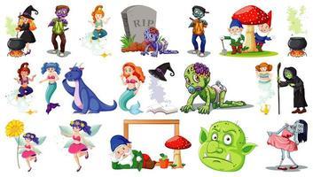 Satz von Fantasy-Comicfiguren und Fantasy-Thema auf weißem Hintergrund isoliert
