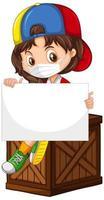 söt ung tecknad karaktär med tomt banner