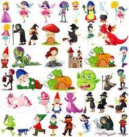 Satz von Fantasy-Comicfiguren und Fantasy-Thema auf weißem Hintergrund isoliert vektor