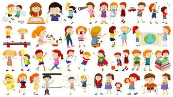 uppsättning söta barn seriefigur