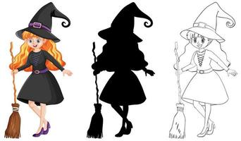 Hexe mit Besenstiel in Farbe und Umriss und Silhouette Zeichentrickfigur lokalisiert auf weißem Hintergrund