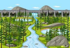 dammen i naturen landskap scen vektor