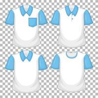 Satz von verschiedenen Hemden mit blauen Ärmeln lokalisiert auf transparentem Hintergrund