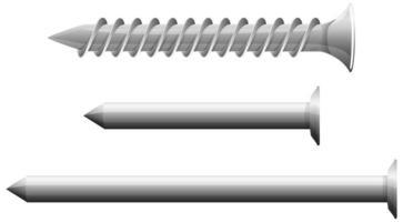 Art der Schrauben auf weißem Hintergrund isoliert vektor