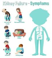 Infografik Informationen zu Nierenversagenssymptomen vektor