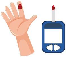 medicinsk blodglukosmätning med blod på fingret