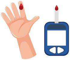 medizinische Blutzuckermessung mit Blut am Finger