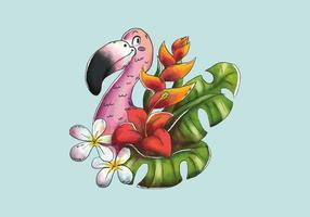 Netter Flamingo, der mit tropischen Blättern und exotischen Blumen lächelt