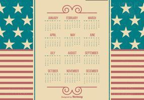 Patriotisk stil 2017 Grunge Kalender vektor
