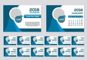 Free Blue 2018 Kalender Schreibtisch Vektor
