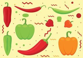Chili peppers vektor uppsättning