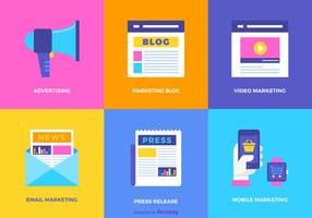 Digital Marketing Flat Vector Icon Set