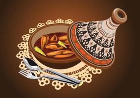 Illustration von Sambal Huhn Tajine serviert mit Oliven, in einem rustikalen schönen Tagine Pot