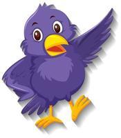 söt lila fågel seriefigur