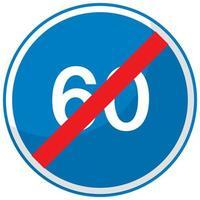 blaues Mindestgeschwindigkeitslimit 60 Verkehrszeichen lokalisiert auf weißem Hintergrund