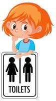 Mädchen, das Toilettenzeichen lokalisiert auf weißem Hintergrund hält