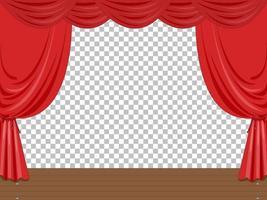 leere Bühnenillustration mit roten Vorhängen transparent