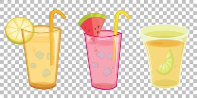 Satz von verschiedenen Arten von frischen Getränken isoliert auf transparentem Hintergrund vektor