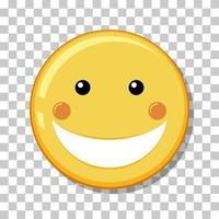 gelbes glückliches Gesicht mit Lächelnikone lokalisiert auf transparentem Hintergrund vektor