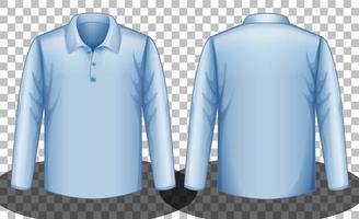 blaues Langarm-Poloshirt vorne und hinten vektor